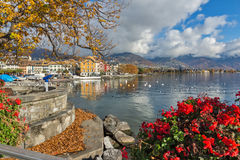 Panorama with flowers of Vevey, canton of Vaud, Switzerland Royalty Free Stock Images