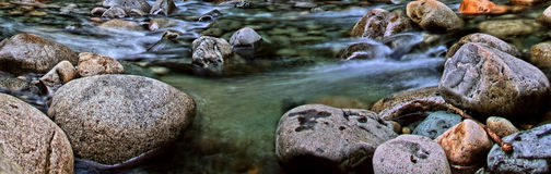 Panorama of a Flowing Alpine Stream Stock Image
