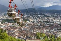 Panorama- flyg- sikt av den Grenoble staden, Frankrike Arkivbilder