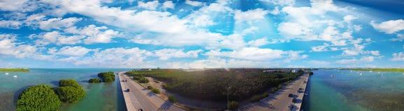 Panorama- flyg- sikt av den Key West kustlinjen, Florida - USA Fotografering för Bildbyråer