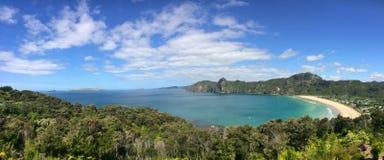 Panorama- flyg- sikt av den Taupo fjärden i norra delen av ett land, Nya Zeeland Arkivbilder