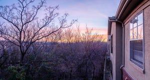 Panorama- flyg- sikt av lägenhetskomplexet nära skog med kala träd under vintertidsoluppgång fotografering för bildbyråer
