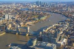 Panorama- flyg- sikt av London Fotografering för Bildbyråer