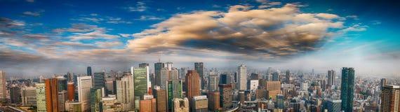 Panorama- flyg- sikt av Osaka horisont på skymning, Japan Arkivfoto