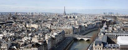 Panorama- flyg- sikt av Paris Royaltyfri Fotografi