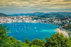 Panorama- flyg- sikt av San Sebastian Donostia Spain Royaltyfri Bild