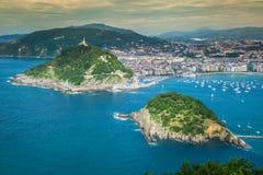 Panorama- flyg- sikt av San Sebastian Donostia Spain Arkivfoto