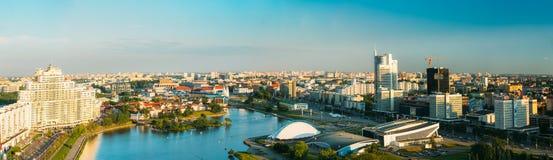 Panorama- flyg- sikt, cityscape av Minsk, Vitryssland arkivfoton