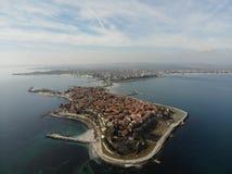 Panorama- flyg- sikt från Nessebar royaltyfri bild