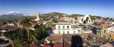 Panorama- flyg- sikt på Trinidad med Lucha Contra Bandidos, Kuba Arkivfoto