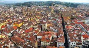 Panorama- flyg- sikt uppifrån av den Florence domkyrkan i Florence Italy Arkivfoton