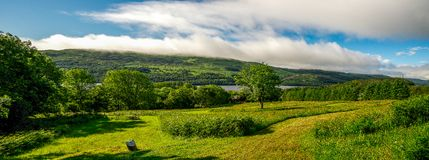 Panorama of a flying disc golf course at Loch Tay Highland Lodges Royalty Free Stock Images