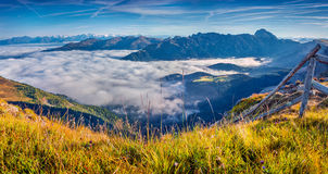 Panorama of the foggy valley royalty free stock photo