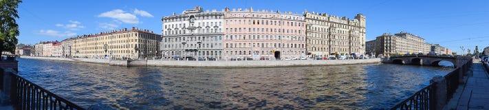 Panorama the Fontanka river embankment. The Fontanka river embankment in St.Petersburg, Russia Royalty Free Stock Photos