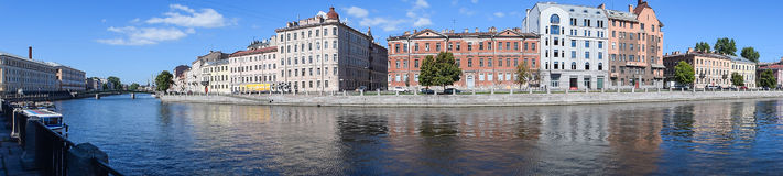 Panorama. The Fontanka river embankment in St.Petersburg. The Fontanka river embankment in St.Petersburg, Russia Royalty Free Stock Photography