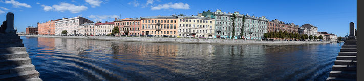 Panorama. The Fontanka river embankment in St.Petersburg Royalty Free Stock Image