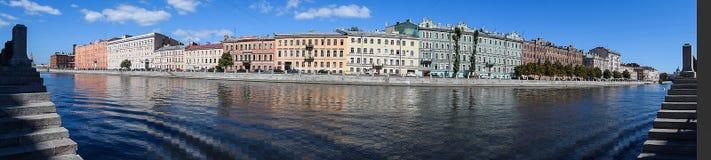 Panorama. The Fontanka river embankment in St.Petersburg Royalty Free Stock Image