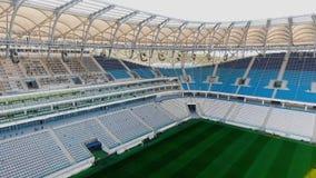 Panorama of football stadium - field and seats stock video