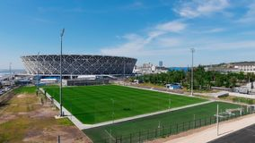 Panorama of football stadium stock footage