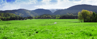 Panorama of foothill valley  in the autumn.Saxon Stock Photography