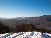 Panorama foothills with snow Stock Photos