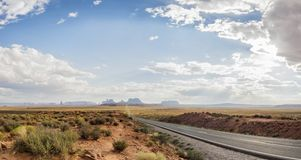 Panorama: Forest Gump Point Monument Valley scenic panorama on the road - Arizona, AZ Stock Images