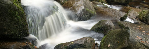 Panorama format landscape of waterfall in forest Royalty Free Stock Photography