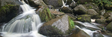 Panorama format landscape of waterfall in forest Royalty Free Stock Images
