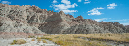 Panorama of formations at Badlands National Park. Geologic formations and banding in rocks at Badlands in South Dakota royalty free stock image