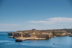 Panorama of the Fort Ricazoli of La Vittoriosa in Malta Stock Photos