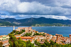 Panorama of the Forte Stella and the Lighthouse in town Portofer Royalty Free Stock Photo