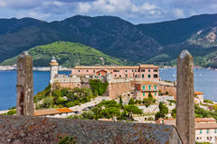 Panorama of the Forte Stella and the Lighthouse in town Portofer Royalty Free Stock Photos