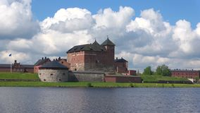 Panorama forteca w Hameenlinna, Czerwa dzień Finlandia zbiory