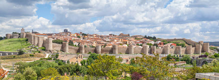Panorama of fortified medieval city Avila Royalty Free Stock Photography