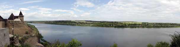 Panorama of from the fortress at Khotyn Stock Photos
