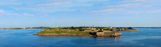 Panorama of fortress of Suomenlinn in the summer. Panoramic view on a fortress of Suomenlinn in summer day, Helsinki, Finland Royalty Free Stock Image