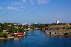 Panorama of fortress of Suomenlinn in the summer. Panoramic view on a fortress of Suomenlinn in summer day, Helsinki, Finland royalty free stock photography