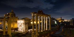 Panorama of the Forum Romanum at night Stock Photo