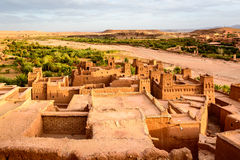Panorama- foto av Ait Benhaddou, Marocko Arkivfoton