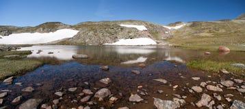 Panorama- foto av Besseggen Ridge i den Jotunheimen nationalparken Arkivbilder