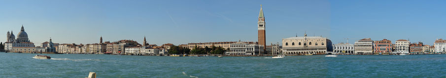 Panorama foto of Venice, Italy. With the Doge's palace and the Campanile at San Marco's square stock image