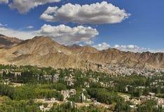 Panorama fotografico della città di Leh, Ladakh: alberi verdi, sopra loro allungamenti una gamma di alta montagna, su cui sta il  Fotografia Stock Libera da Diritti