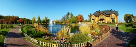 The panorama of fountain and  Royalty Free Stock Photography