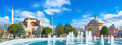 Panorama with the fountain Stock Photography