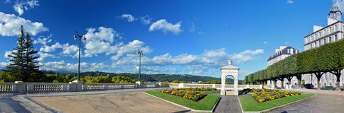 Panorama of fountain place in Boulevard of Pyrenees in Pau Royalty Free Stock Images