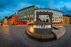 Panorama of Fountain and Sculpture of King Christian IV Hand in Royalty Free Stock Photo