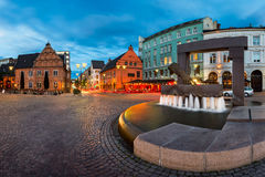 Panorama of Fountain and Sculpture of King Christian IV Hand in Royalty Free Stock Photography