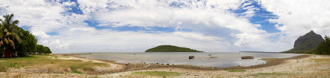 Panorama at Fourneau Isle, Mauritius. Panoramic view shot with the Fourneau Isle in the middle Stock Image