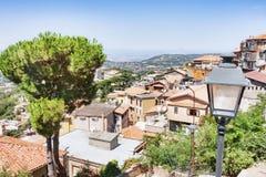 Panorama från by av Rocca di Far till Rome Royaltyfri Fotografi
