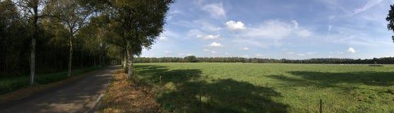 Panorama från en väg och en jordbruksmark Fotografering för Bildbyråer